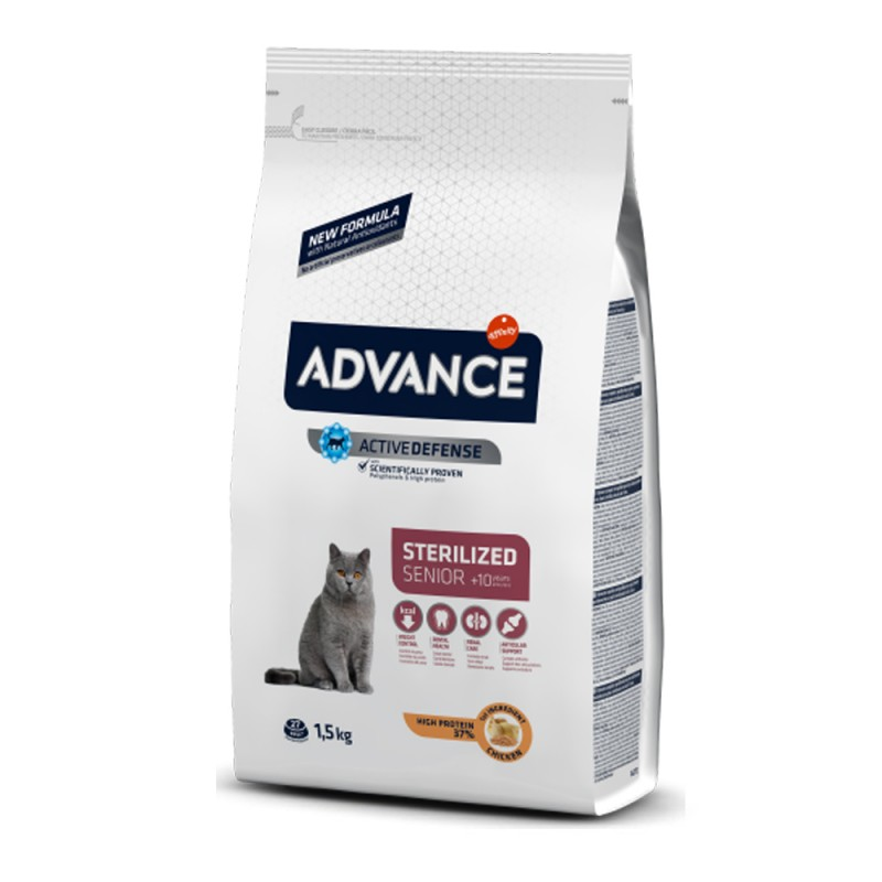 Punga alba cu mancare Advance Cat pentru pisici sterilizate, pentru pisici de peste 10 ani