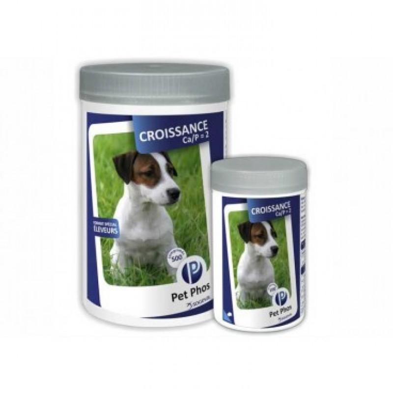 Două flacoane de vintamine pentru câini Pet Phos Croissance, de dimensiuni diferite