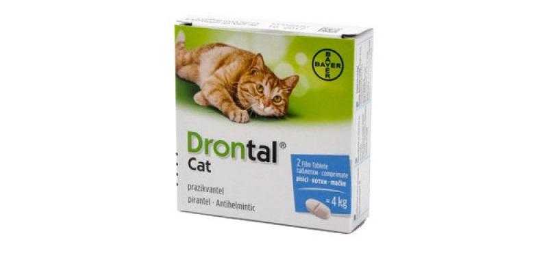 Cutie cu doua tablete antiparazitare Drontal pentru pisici de până la 10kg pe fundal alb
