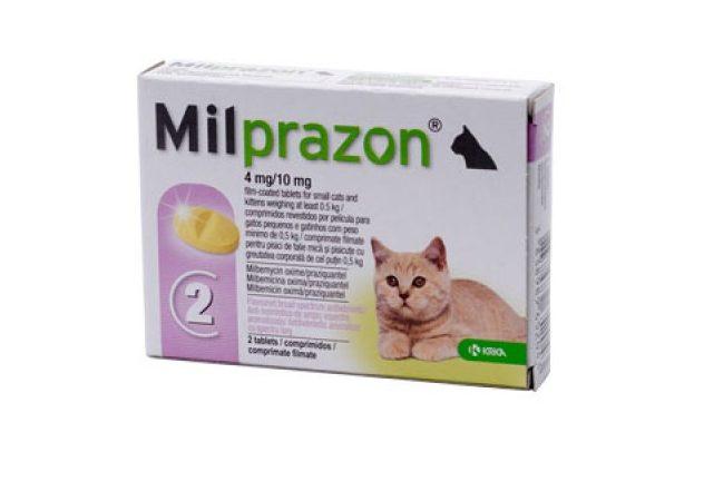 Cutie cu tablete antiparazitare Milprazon pentru pisici pe fond alb