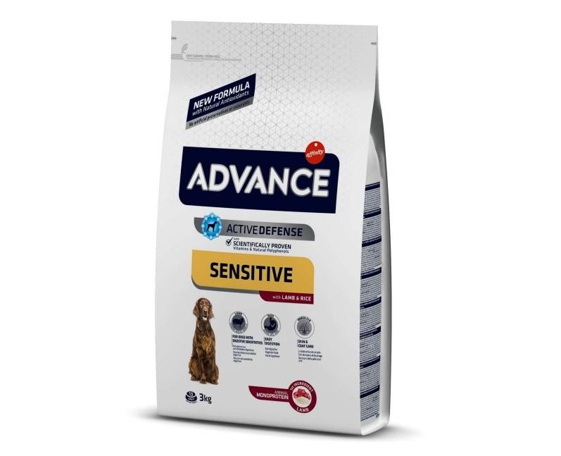 Punga cu hrana uscata Advance Dog Sensitive pe fond alb