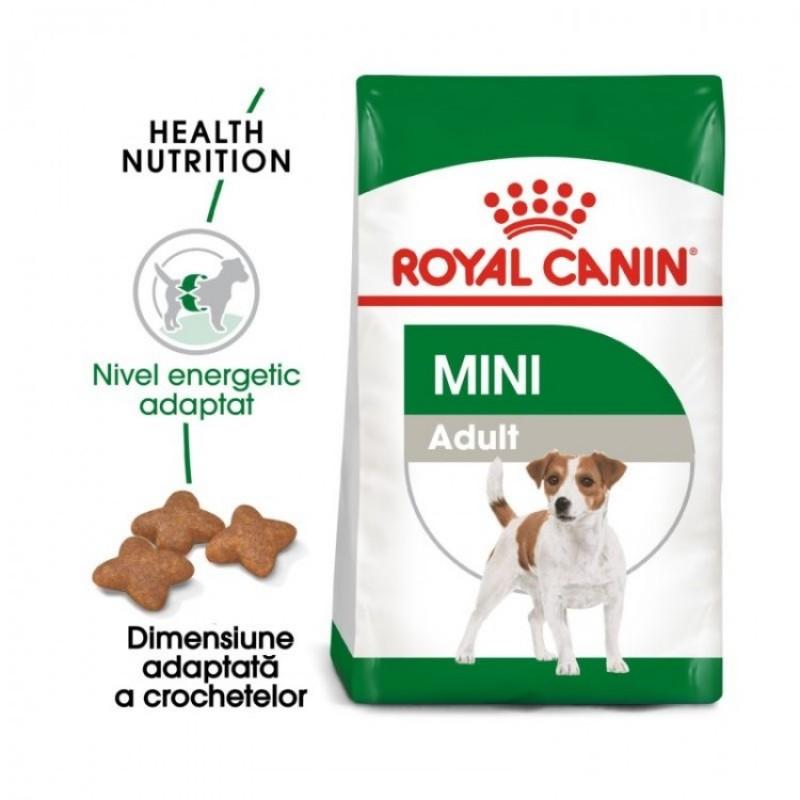 Pungă cu hrana Royal Canin Mini Adult pe fond alb