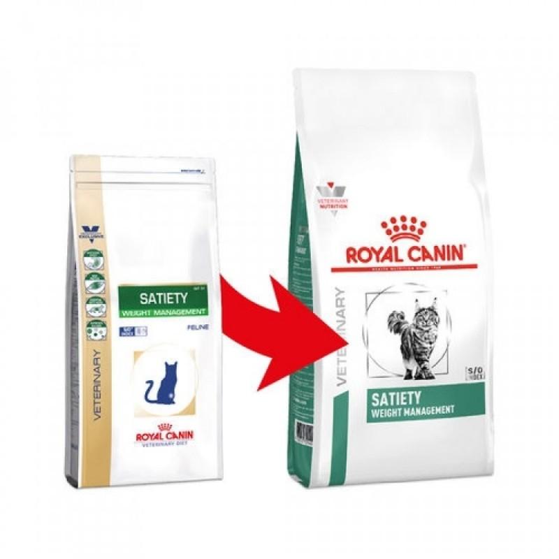 Pungi cu hrana Royal Canin Satiety Support, varianta veche si varianta noua, pe fond alb