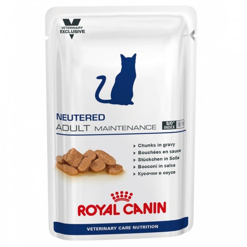 Plic cu hrana umeda Royal Canin Neutered Adult Maintenance pe fond alb