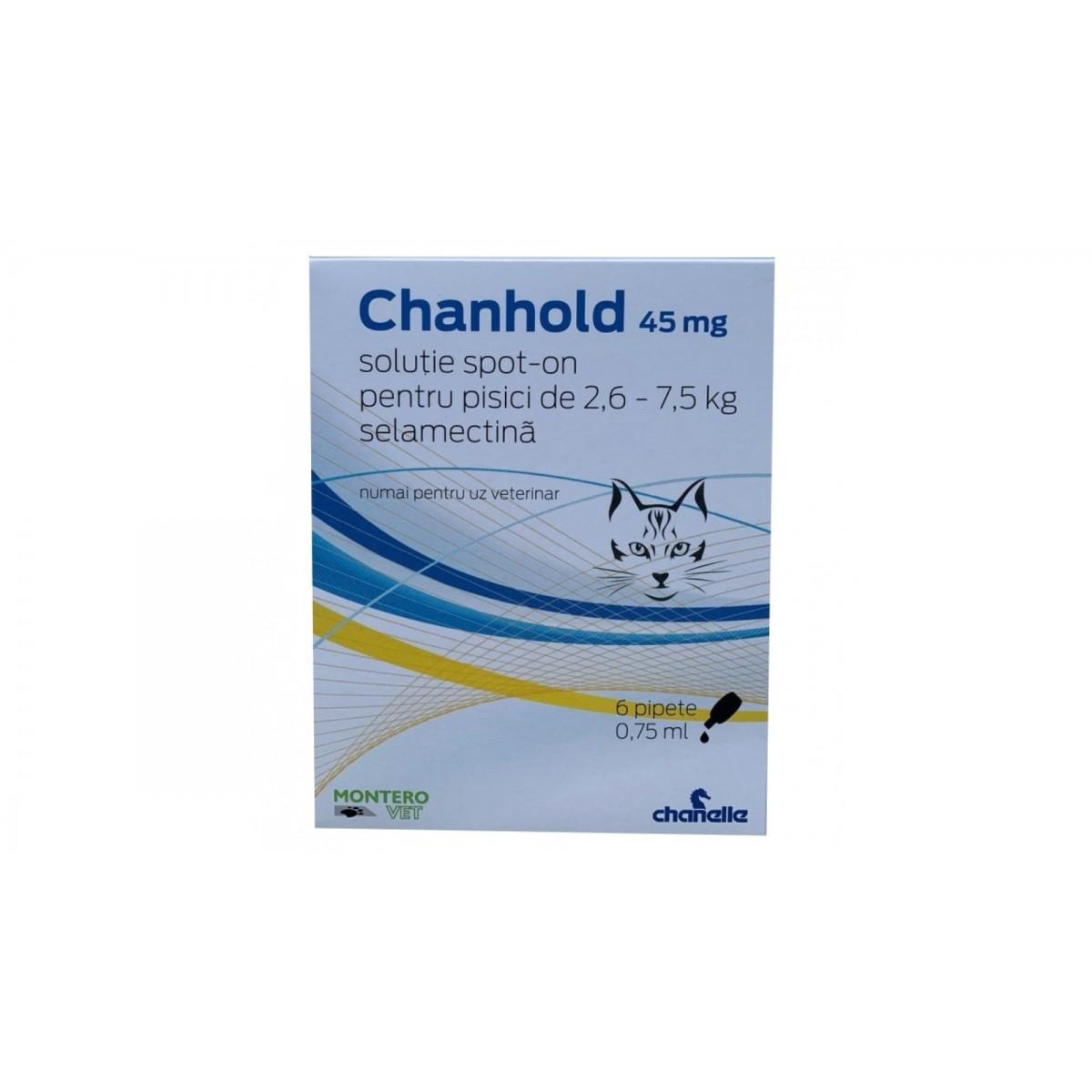 Pipetă antiparazitară Chanhold 45 mg pentru pisici între 2,6 - 7,5 kg