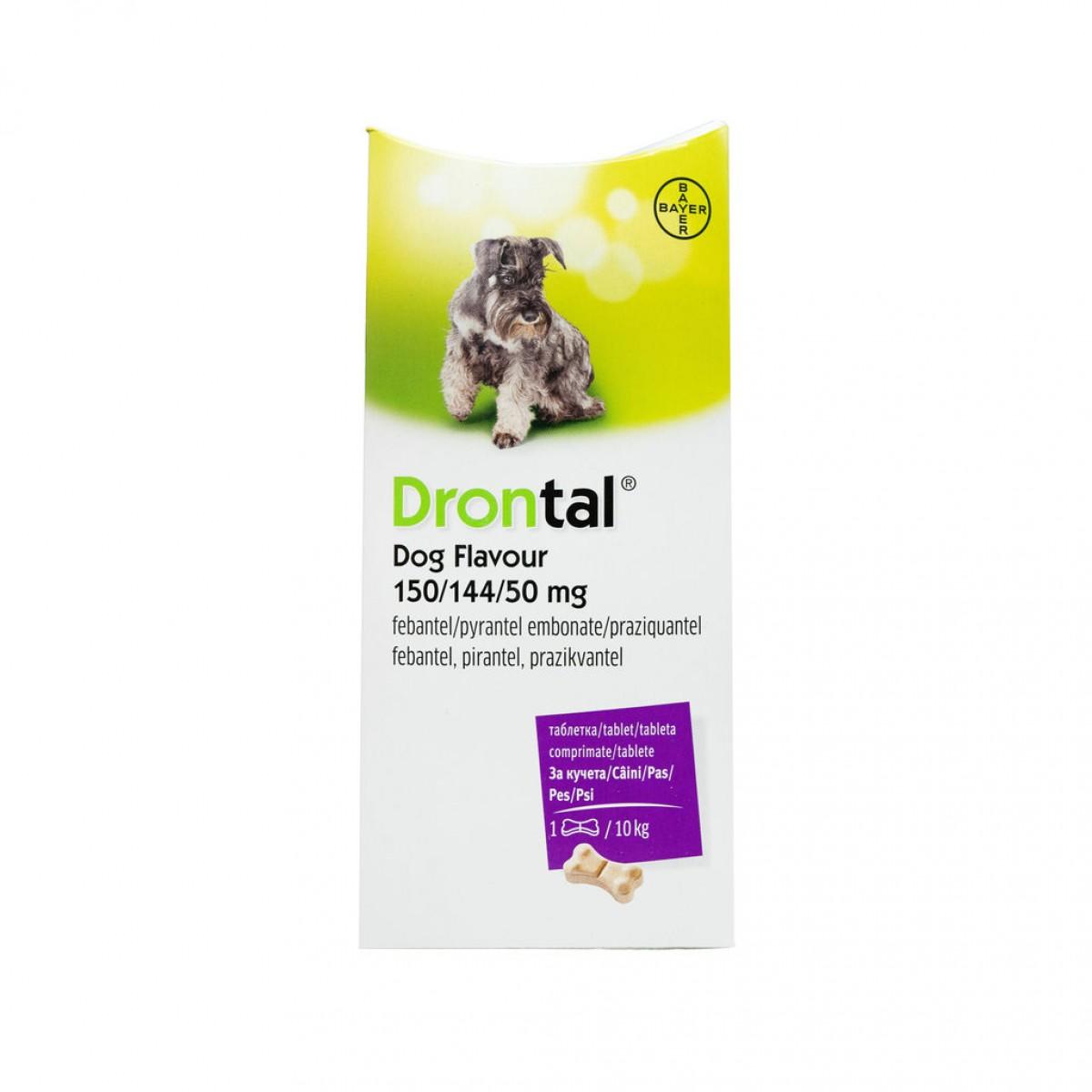 Tabletă antiparazitare Drontal pentru câini de până la 10kg