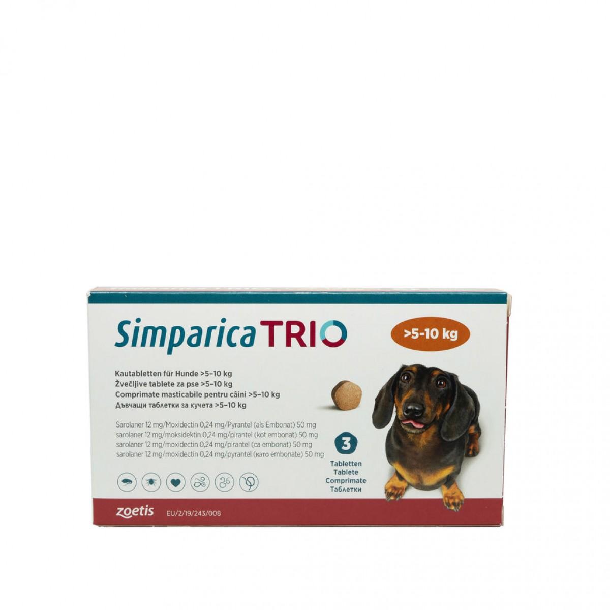 Comprimat masticabil antiparazitar Simparica Trio pentru caini 5-10kg
