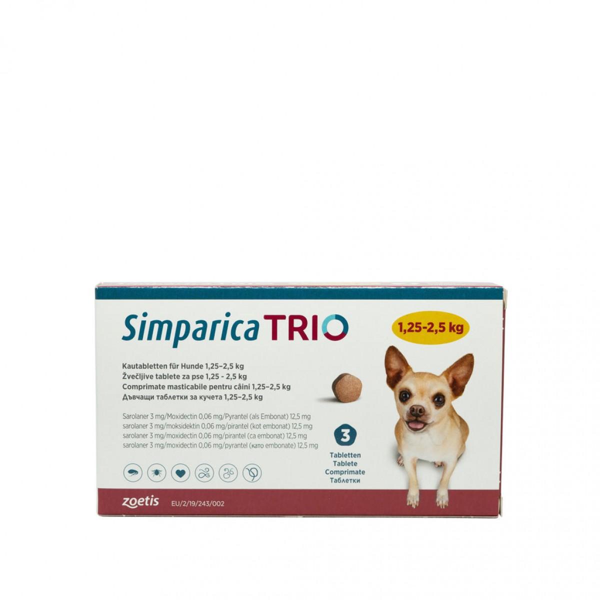 Comprimat masticabil antiparazitar Simparica Trio pentru caini 1.25-2.5kg