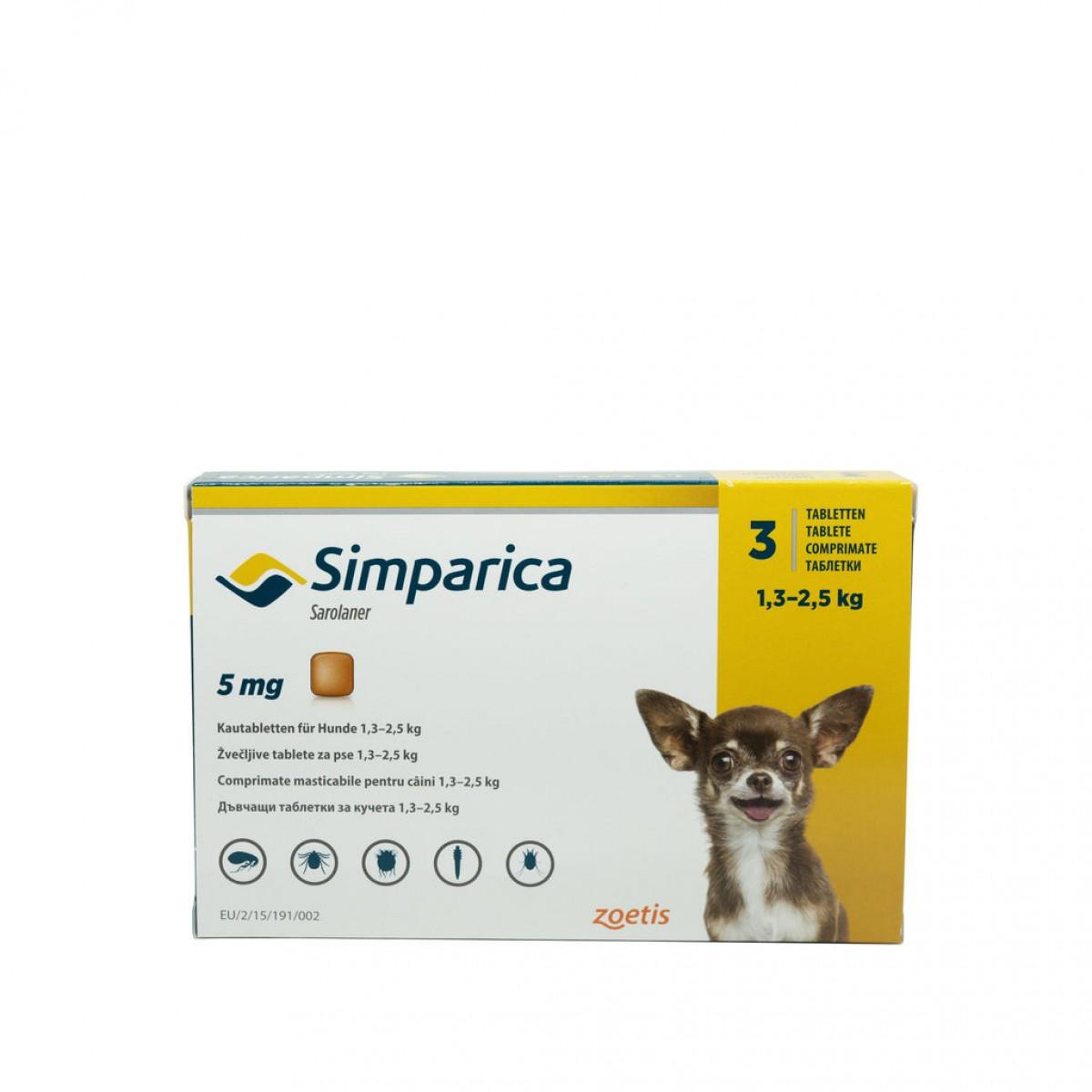 Comprimat masticabil antiparazitar Simparica 5 mg pentru câini de 1.3 - 2.5 kg