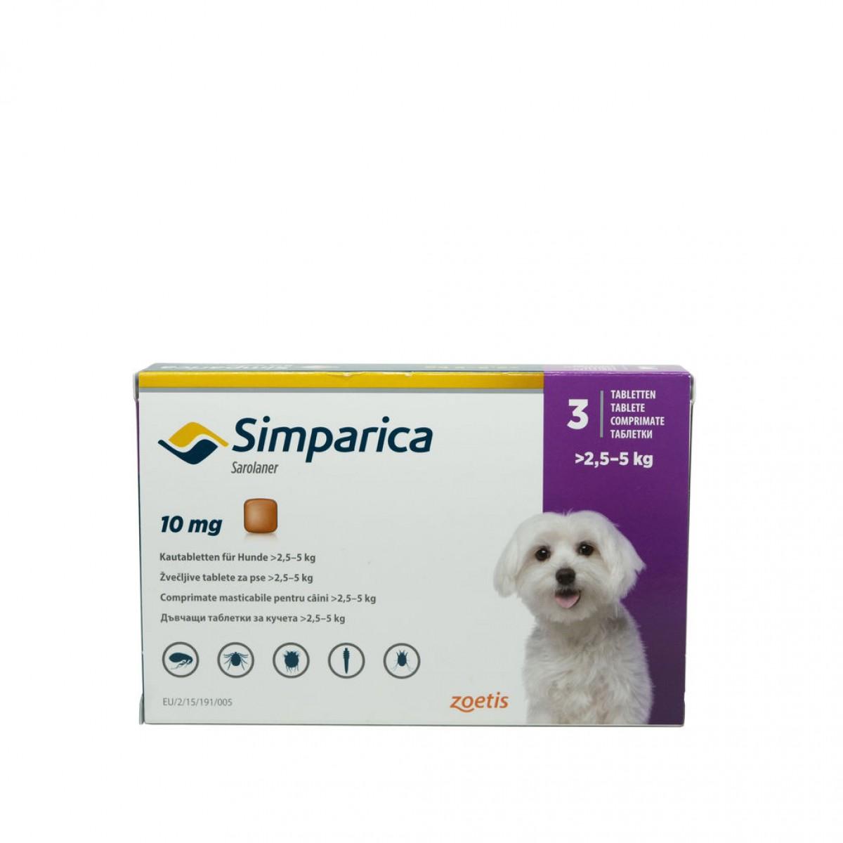 Comprimat masticabil antiparazitar Simparica 10 mg pentru câini de 2.5 - 5kg