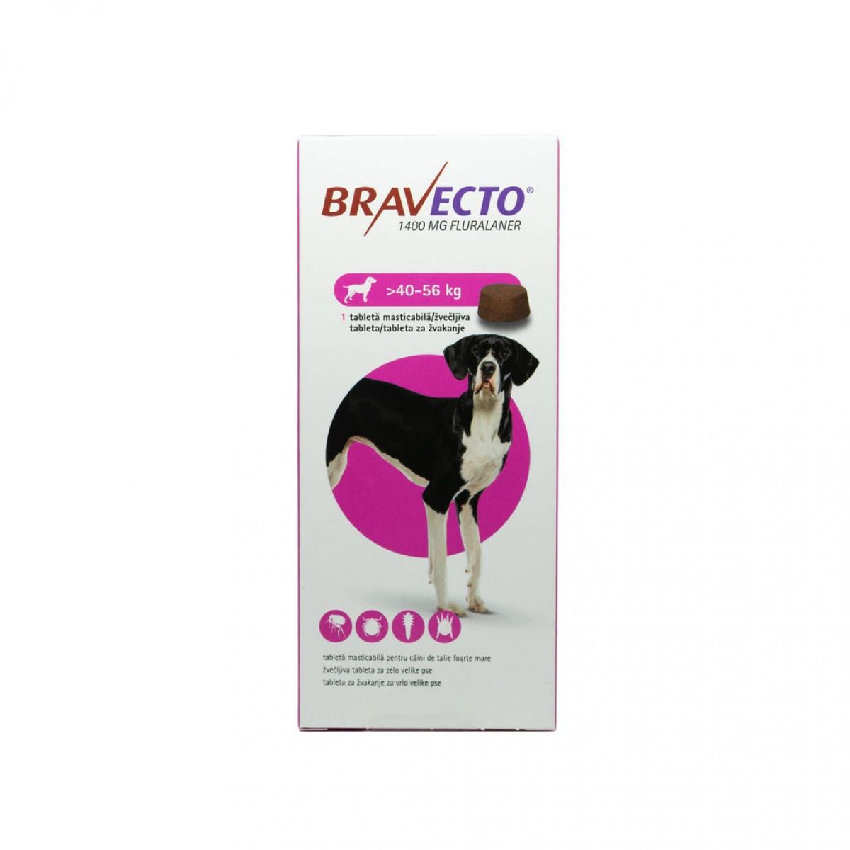 Tabletă antiparazitară Bravecto pentru câini de peste 40kg