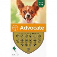 Pipetă antiparazitară Advocate pentru caini de 0-4 kg