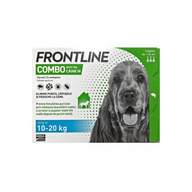 Pipetă antiparazitară Frontline Combo pentru caini de talie medie 10-20kg