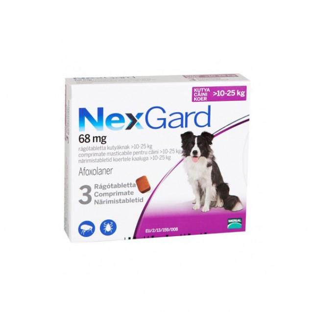 Comprimat masticabil antiparazitare Nexgard L pentru câini de 10 - 25kg