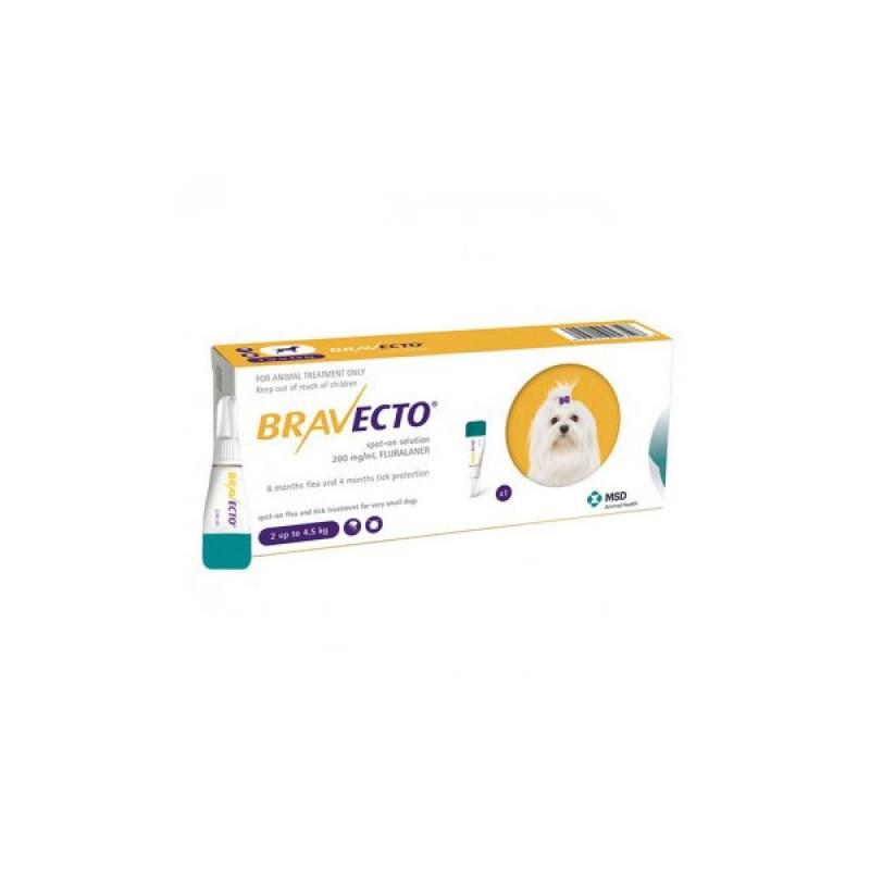 Pipetă antiparazitară Bravecto pentru câini de 2 - 4.5kg