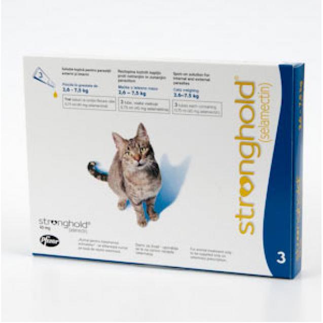 Pipetă antiparazitară Stronghold pentru pisici 2.5-7kg, 45mg