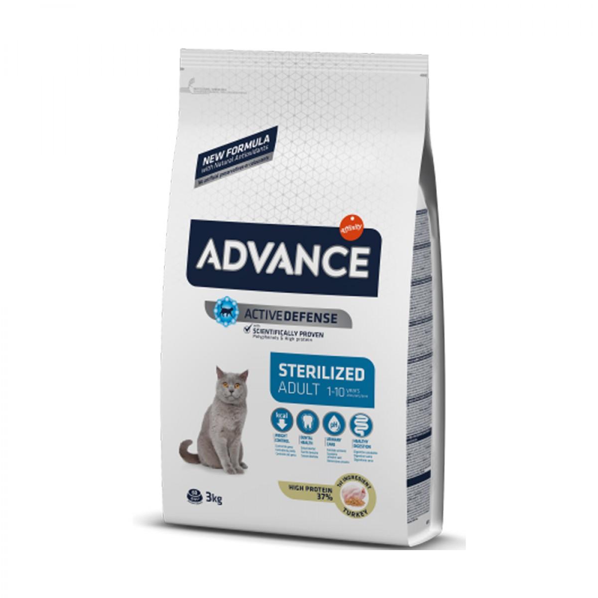 Hrana pentru pisici adulte sterilizate - Advance Cat Sterilized Curcan 3kg