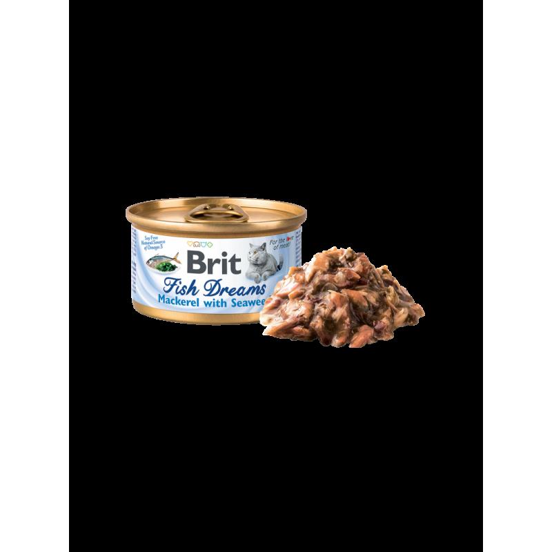 Hrană umedă BRIT Fish Dreams pentru pisici, cu macrou si alge marine, 80g