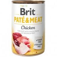 Hrană umedă BRIT  pentru câini, cu bucati de carne si pate, cu pui 400g
