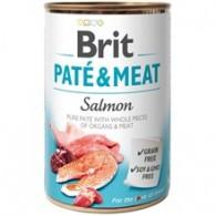 Hrană umedă BRIT  pentru câini, cu bucati de carne si pate, cu somon 400g
