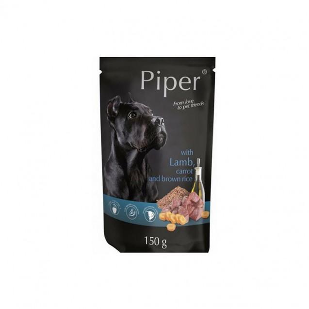 Hrană umedă câini adulți, Piper, cu Miel, Morcovi si Orez brun