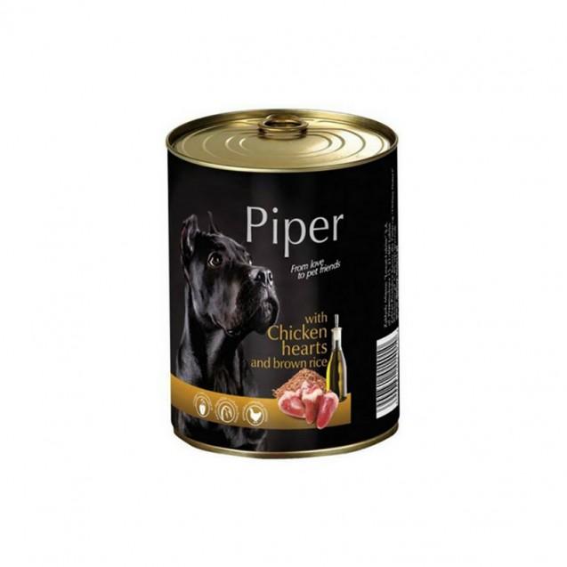 Hrană umedă câini adulți, Piper, cu Inimi de Pui și Orez Brun