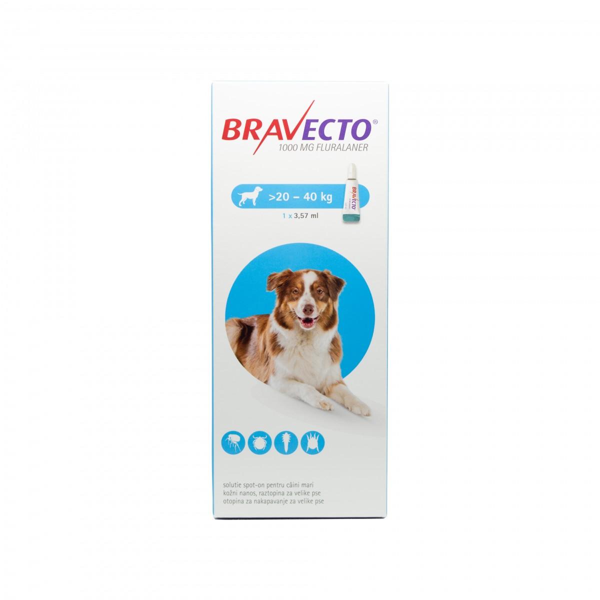 Pipetă antiparazitară Bravecto pentru câini de 20 - 40kg